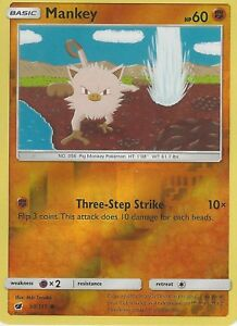 POKEMON-SUN-amp-MOON-CRIMSON-INVASION-CARD-MANKEY-50-111-REVERSE-HOLO