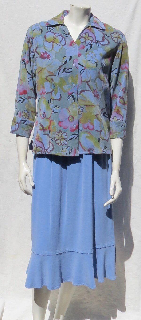 TIANELLO USA Floral Print Suzy Blouse + Tank Top + Tulip Skirt Set size XS S M