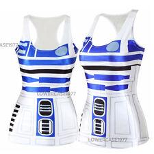 R2D2 tank top, size 10, comics, geek, Sci-fi star, robots droid wars white blue