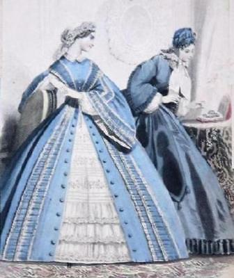 1878 Afternoon Dress pattern for antique French Fashion doll   #136