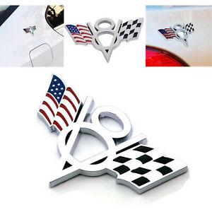 Metall-V8-amerikanische-Flagge-Auto-Emblem-Universal-3D-Abzeichen-Aufkleber