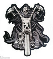 "Reaper on Motorbike (Black) Back Patch 25CM x 30CM (10"" x 12"") Sew On"