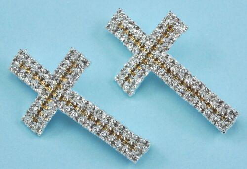 5x 3-row rhinestone strass plaqué argent bracelet breloque croix courbée entretoises