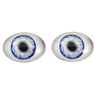 Big Doll Making Eye Cabs Flatback Large 30x40mm Oval Glass Eyes Set in Green