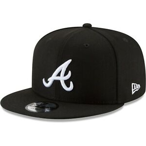 Atlanta-Braves-New-Era-9Fifty-Black-White-Logo-Field-Snapback-Hat-Cap-MLB