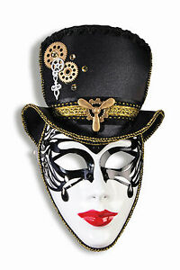 Madame-Steampunk-Plastic-Face-Mask-with-Attached-Hat-Headband-Costume-Accessory