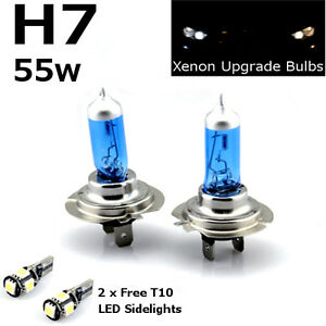 12v Dipped Headlight Bulbs H7 55w Super White Xenon Smd 501 Sidelights 499