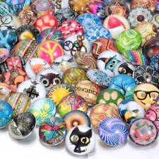 50pcs//lot 18mm Snap Button Mixed Pattern Glass Charms For Snap Jewelry HM004
