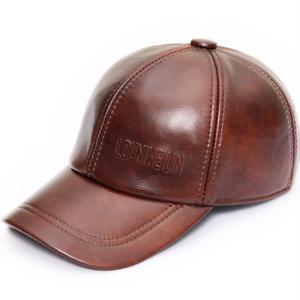 816705065fe Men s 100% Genuine Leather Adjustable Casual Sport Baseball Golf Cap ...