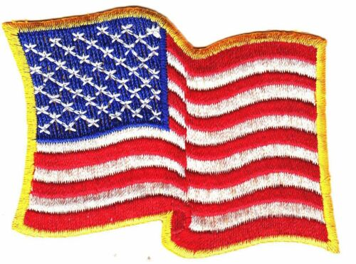 """AMERICAN FLAG WAVING 3/"""" x 2/"""" Logo Sew Ironed On Embroidery Applique Patch"""