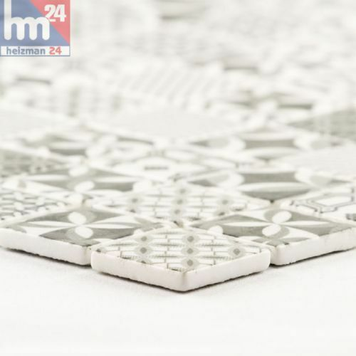 schwarz 30x30x0,4cm weiß Mosaikfliese Vallata Keramikfliese Retro Muster grau