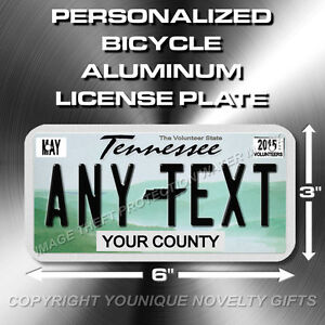 Tennessee Custom ANY TEXT Bicycle Toy Bike Power Wheels License Plate Tag New