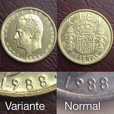 100 Pesetas 1988 Juan Carlos I Lis Arriba S/C Spain España Variante Leeer!!!