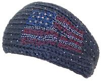 D&y Womens Tight Rib Knit Headband W/jeweled American Flag Design 485 Gray