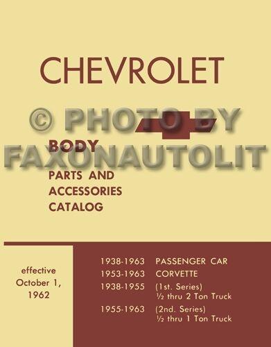 Corvette Body Parts Book 1957 1958 1959 1960 1961 1962 1963 Illustrated Catalog