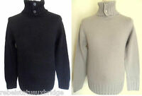 FCUK FRENCH CONNECTION Jumper Roll Neck 4 Button Knit Black,Stone M,L,XL,XXL