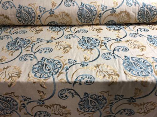 Osterley turquoise et or soie brodée Designer Rideaux Tapisserie Tissu de Lin