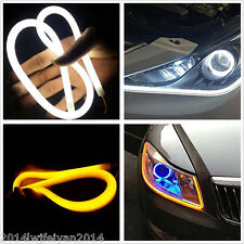 """23"""" Side Glow White/Amber Switchback LED Strips Lights For Headlights DRL&Signal"""