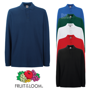 Fruit-of-the-Loom-MEN-039-S-POLO-SHIRT-LONG-SLEEVE-PREMIUM-COTTON-CASUAL-S-3XL-OFFER