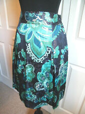 TORY BURCH PLEAT, PENCIL DESIGN SKIRT METALLIC TURQUOISE FLORAL on BLACK  SZ 10
