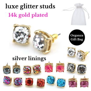 14k Gold Plated Large Square Luxe Glitter Studs Spade designer kate Blogger