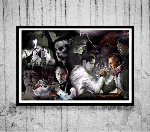 """3 sizes HENRY VS VICTOR Frankenstein Art Poster Print /""""B/"""" horror Scott Jackson"""