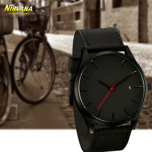 Men-039-s-Fashion-Sport-Stainless-Steel-Case-Leather-Band-Quartz-Analog-Casual-Watch
