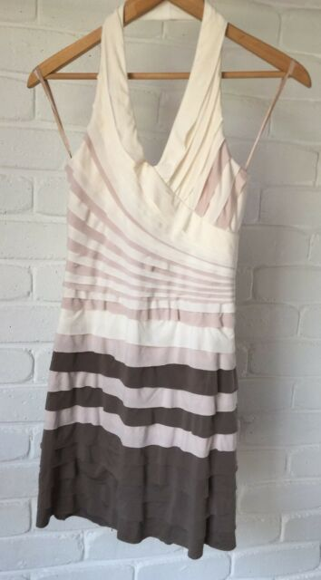 Cooper St Halter Dress Stretch Bodycon Layered White Pink Brown Size 8 * VGC*