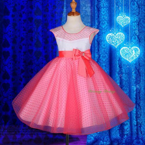 Polka Dot Pattern Flocking Print Formal Dress Flower Girl Wedding Party 2-8 #243
