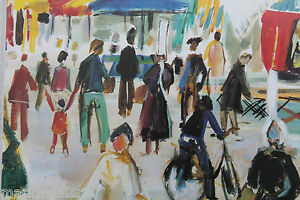 Art Breton Bigouden Marché Couleurs Repro Peinture Poster Moderne
