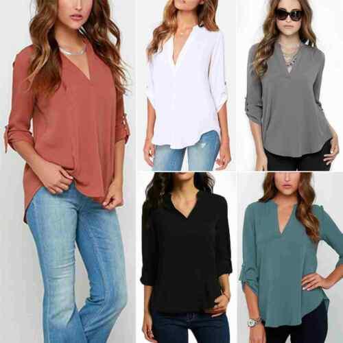 Womens Ladies V-Neck Loose Chiffon Shirt Long Sleeve Work Plain Tops Blouse UK