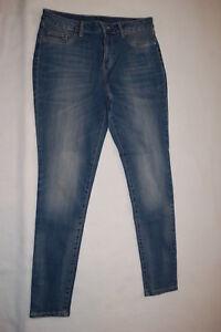 49f920026f17a Womens Pants BLUE DENIM JEGGINGS Skinny Leg MOCK FRONT Rear Pockets ...