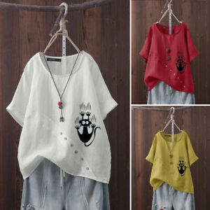 ZANZEA-Mujeres-Mangas-Cortas-Cuello-Redondo-Algodon-Camisa-Camiseta-Damas-Informal-Suelta-Prenda