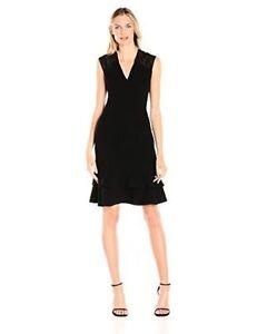 194b018f059 Anne Klein Women s Crepe and Sequin Lace Mesh Double-Flounce Dress ...