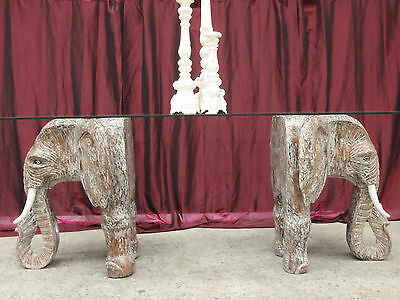Balinese Hand Carved Unique Elephant Dining Table Glass Top White Wash Saur Wood
