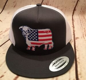 Lazy J Grey and White American Flag Hereford Patch Cap Rodeo Trucker ... 8568479197