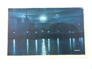 Vintage-Postcard-Paris-by-Night-Illumina-The-Island-of-the-City-France-PATRAS