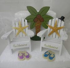 Wedding Reception Real Starfish Adirondack Glasses Cake Topper Beach Chairs