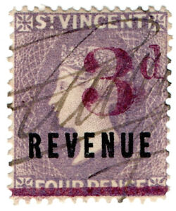 I-B-St-Vincent-Revenue-Duty-Stamp-3d-on-4d-OP