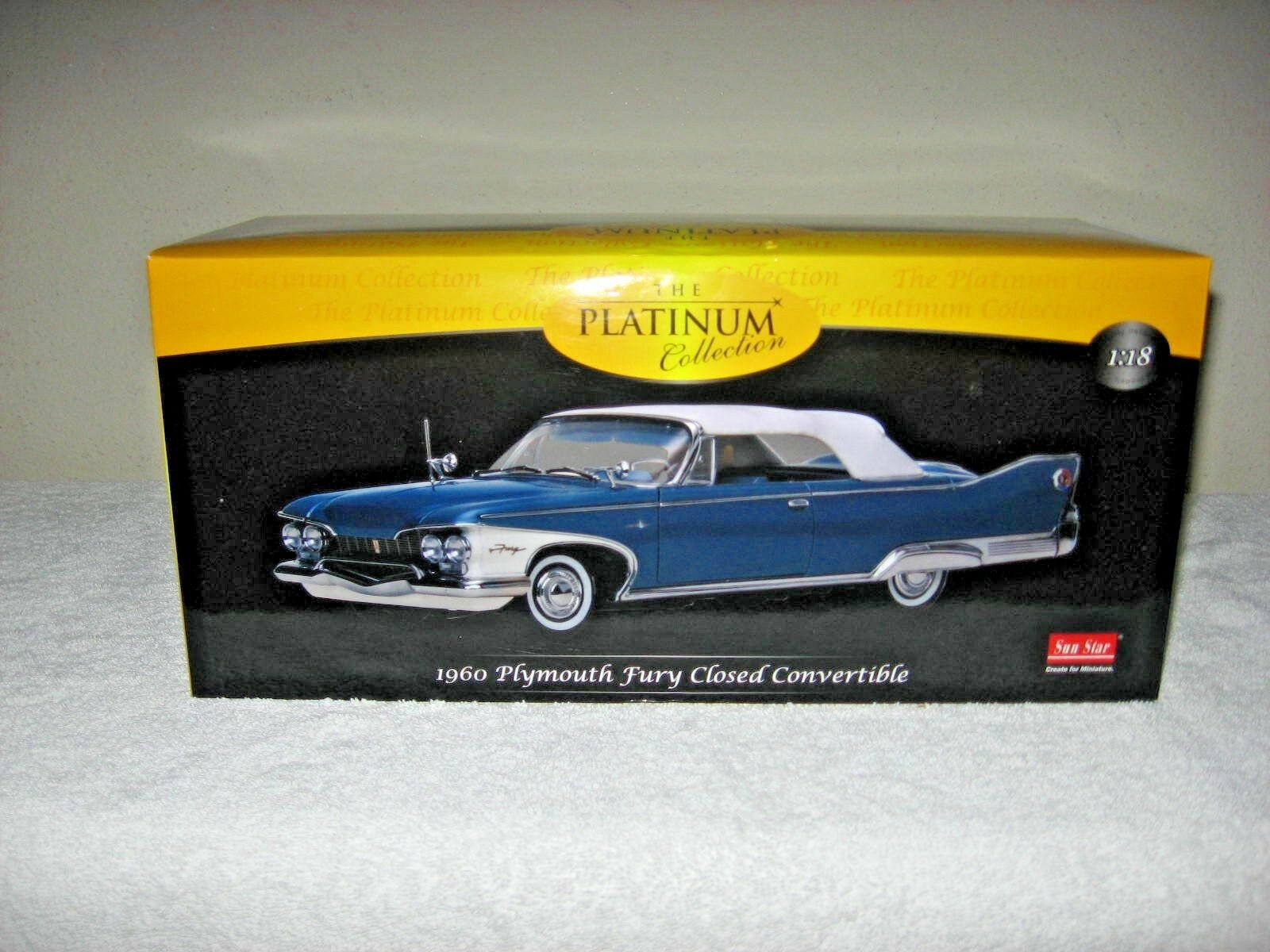 1960 PLYMOUTH FURY CLOSED CONverdeIBLE blu 1 18 HI DETAIL PLATINUM SUN STAR
