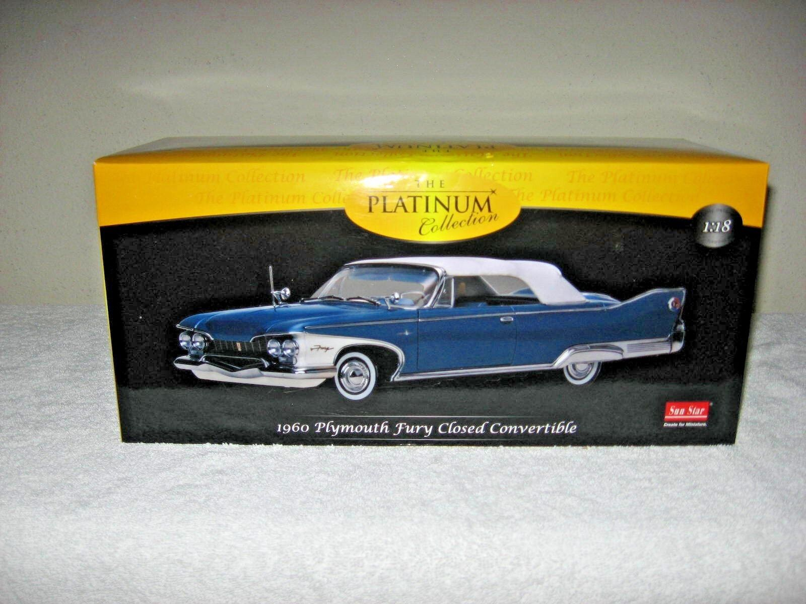 1960 PLYMOUTH FURY CLOSED CONVERTIBLE blu 1:18 HI DETAIL PLATINUM SUN STAR