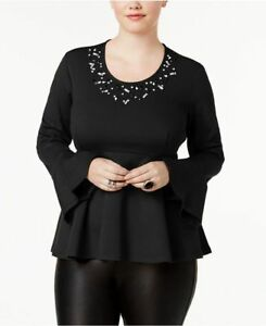 feea572f3f9 Image is loading NWT-MELISSA-MCCARTHY-SEVEN7-BLACK-STUDDED-PEPLUM-TOP-