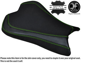 CARBON-GRIP-L-GREEN-DS-ST-CUSTOM-FITS-KAWASAKI-ZX6R-636-09-15-FRONT-SEAT-COVER