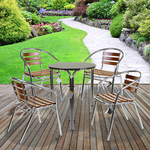 3PC/5PC CHROME BISTRO SET WITH WOODEN SLATTED SEAT ROUND SQUARE TABLES STACKING