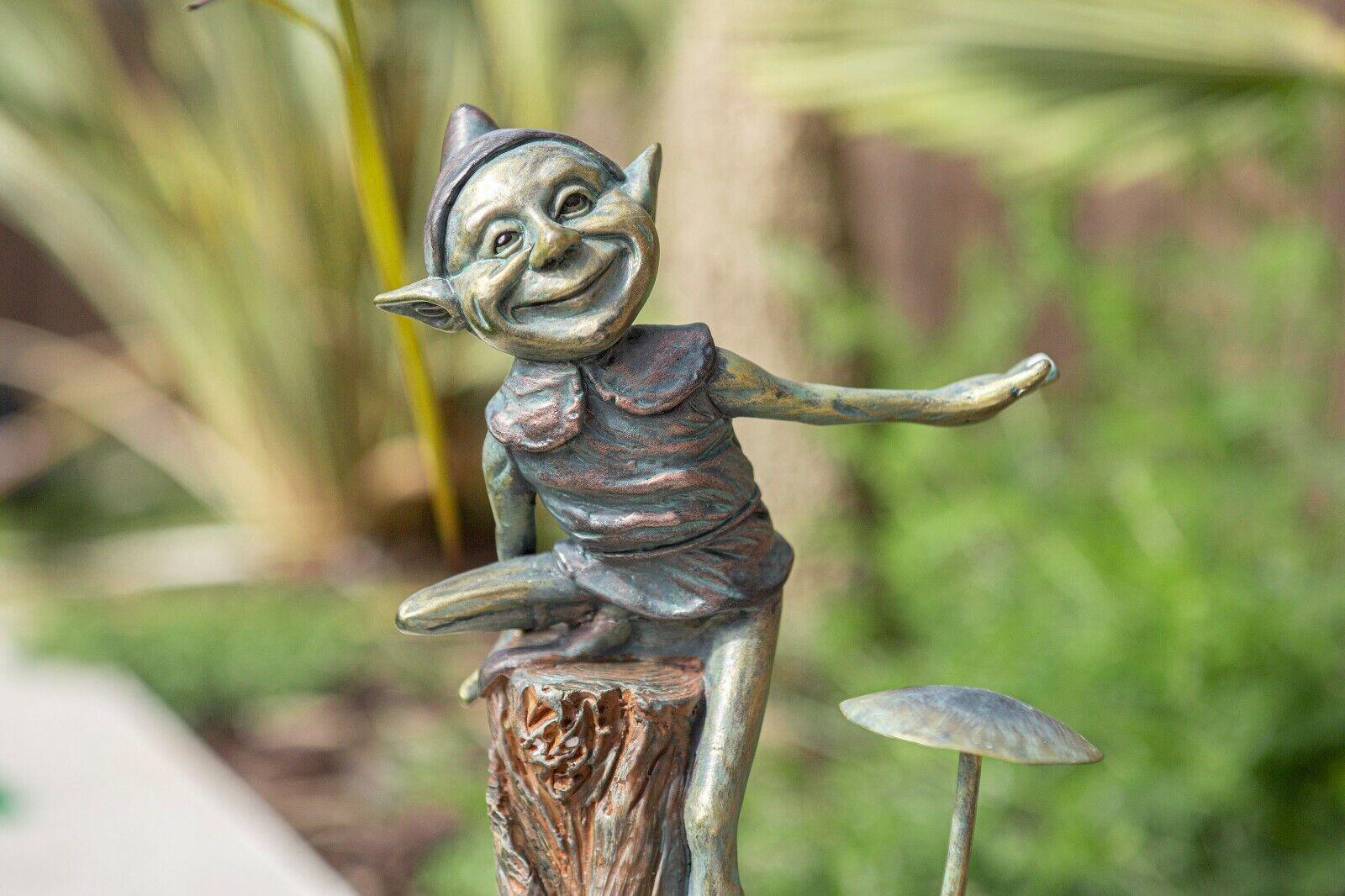 Effetto bronzo ELF /& Fungo Decorazione Giardino Statua Pixie Novità Fata Figura