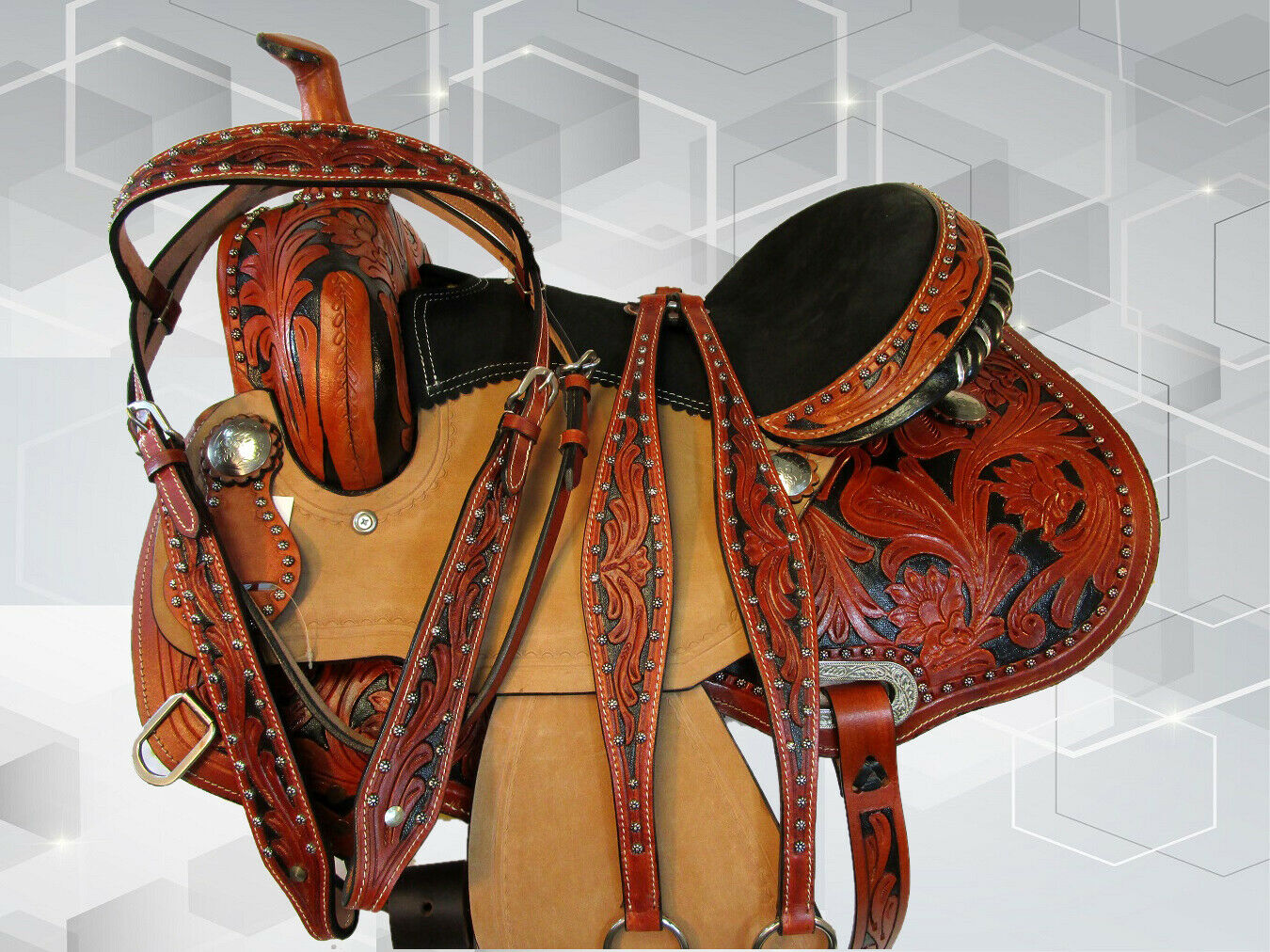 Caballo árabe Western Silla 15 16 Trail placer Barril De Cuero fileteado Tachuela Set