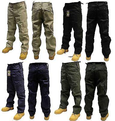 MENS COMBAT CARGO TROUSERS/PANTS BLACK BEIGE NAVY OLIVE 30-50 WAIST 32 & 30 LEG