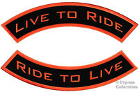 Live To Ride (2) Embroidered Large Patch Rocker Patches Iron-on Black/orange