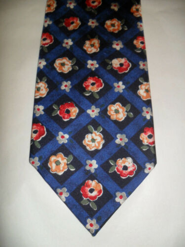 CAVENAGH SILK TIE NAVY FLORAL DESIGN MADE IN THE UK