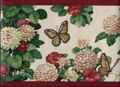 COUNTRY FLORAL MUMS BUTTERFLIES RED TRIM WALLPAPER BORDER